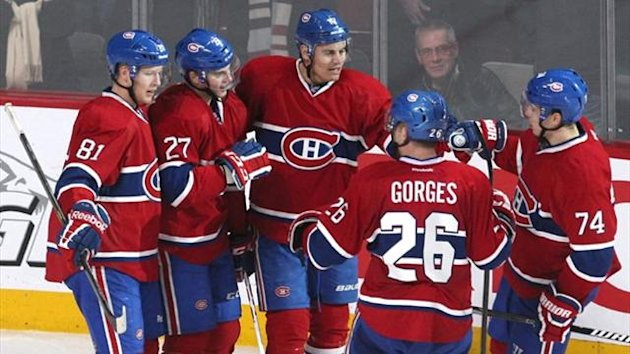 Montreal Canadiens center Alex Galchenyuk (27) celebrates his goal against New Jersey Devils