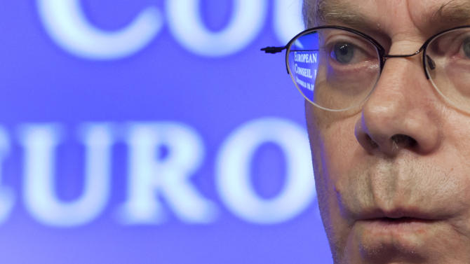 European Council President Herman Van Rompuy pauses before speaking during a media conference at an EU summit in Brussels on Friday, Oct. 19, 2012. European leaders are gathering again in Brussels to discuss how to save the euro currency from collapse and support countries facing too much debt and not enough growth. (AP Photo/Virginia Mayo)