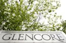 The logo of Glencore is seen in front of the company's headquarter in the Swiss town of Zug