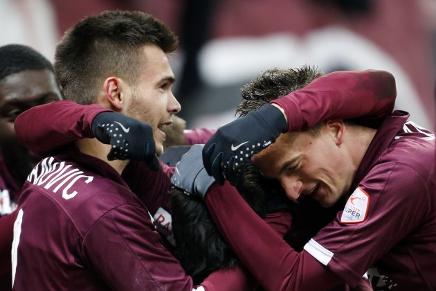 FC Servette's Vitkieviez celebrates his goal with his team mates Karanovic and Lang during his Swiss Super League soccer match against FC Lausanne Sport in Geneva