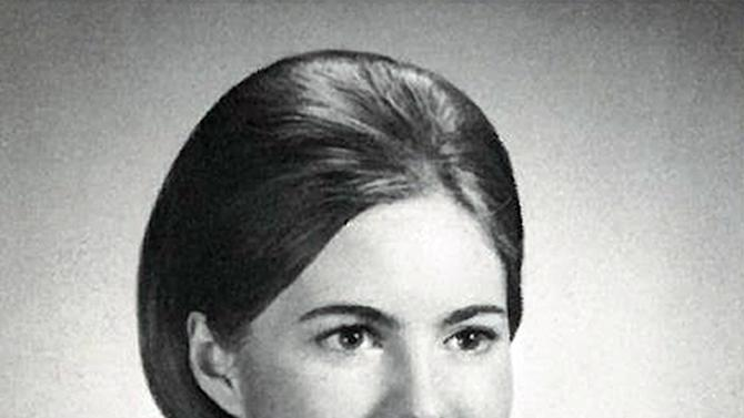 """This image provided by The Cranbrook Schools shows Ann Davies' 1967 yearbook photo during her senior year of high school. To the yearbook editors at the all-girl Kingswood School Davies' destiny seemed pretty obvious. """"The first lady,"""" the entry beside the stunning blond beauty's photo in the 1967 edition of """"Woodwinds"""" concluded. """"Quiet and soft spoken."""" The modern feminist movement was just dawning, and even some of the girls at the staid prep school in the wealthy Detroit suburb of Bloomfield Hills were feeling their oats _ if in a somewhat tame way. Charlon McMath Hibbard remembers getting a doctor's note about her feet, so she wouldn't have to wear the obligatory saddle Oxfords.  (AP Photo)"""