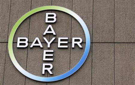 The logo of Germany's largest drugmaker Bayer HealthCare Pharmaceuticals is pictured on the front of its building in Berlin