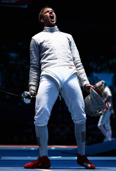 Nicolas Limbach of Germany celebrates in his Men's Sabre Individual Fencing round of 32 match against Adam Skrodzki of Poland on Day 2 of the London 2012 Olympic Games at ExCeL on July 29, 2012 in London, England. (Photo by Quinn Rooney/Getty Images)