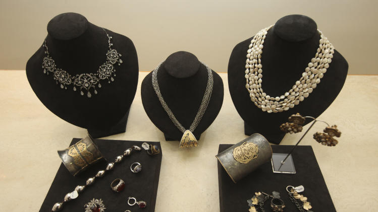Amrapali jewelry is displayed for  sale in a shop in Lagos, Nigeria, Wednesday, March. 21, 2012. The wealthy elite in Nigeria _ upstart business owners, oil industry executives and corrupt politicians _ have a healthy appetite for top shelf brands, but have had to shop in Dubai, London and Paris to find such brands. Now though, sellers of luxury goods are opening stores in Nigeria where seemingly gratuitous displays of wealth are the norm. (AP Photos/Sunday Alamba)