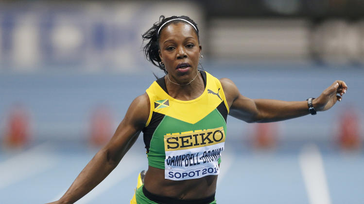 Jamaica's Veronica Campbell-Brown runs in her 60m heat during the Athletics World Indoor Championships in Sopot, Poland, Saturday, March 8, 2014. (AP Photo/Petr David Josek)