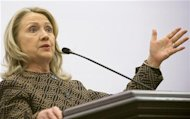 U.S. Secretary of State Clinton gestures during news conference in Istanbul
