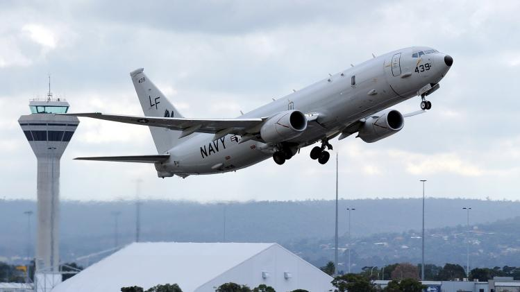 File photo of a U.S. Navy P-8 Poseidon aircraft taking off from Perth International Airport.