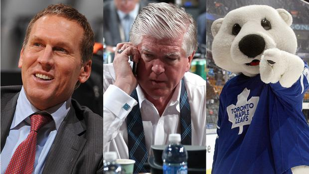 Our three alternative presidential candidates to promote from within MLSE are (from left) Bryan Colangelo, Brian Burke and Carlton the Bear.