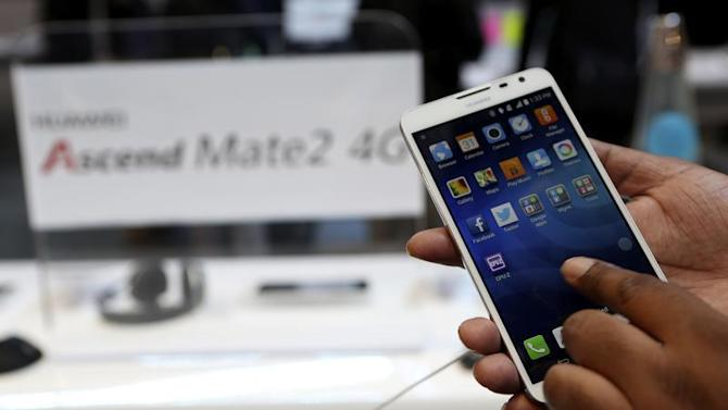 The Huawei Ascend Mate2 4G mobile telephone with an Android operating system is shown at the annual Consumer Electronics Show (CES) in Las Vegas
