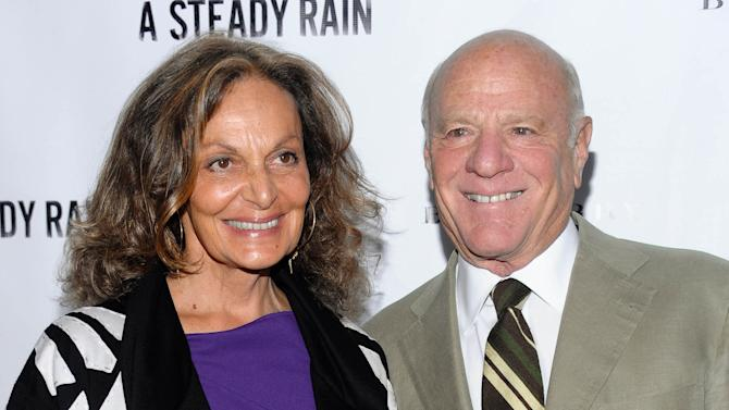"FILE - This Sept. 29, 2009 file photo shows fashion designer Diane von Furstenberg, left, and her husband Barry Diller at the opening night of Broadway's ""A Steady Rain,""  in New York. Diller and von Furstenberg have donated $30 million to the Motion Picture & Television Fund. (AP Photo/Evan Agostini, file)"