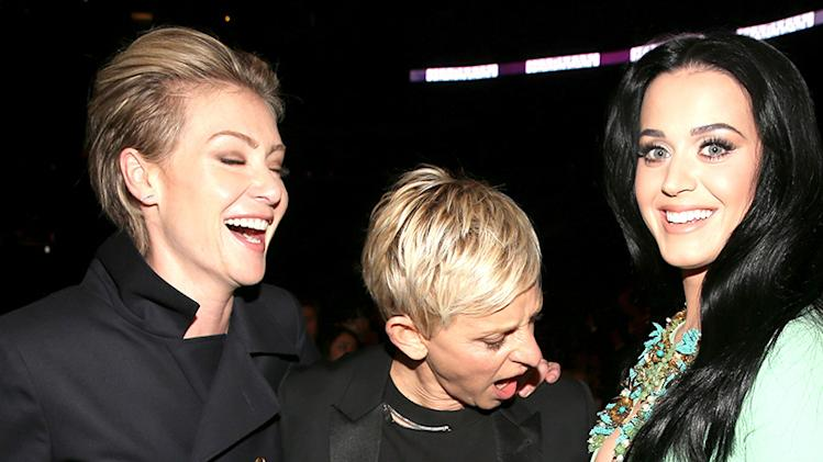 Grammys 2013 Most Memorable Photos from Grammy Night: Portia de Rossi, Ellen DeGeneres and Katy Perry