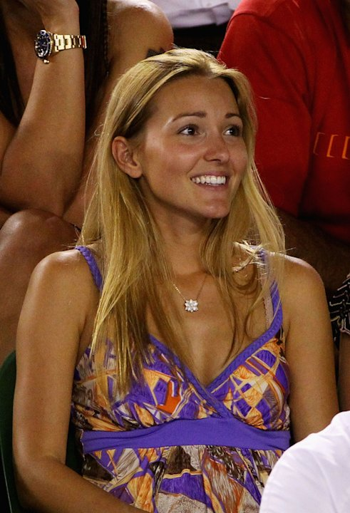 Jelena Ristic, Girlfriend Of Novak Djokovic Of Serbia Watches His Fourth Round Match Against Lleyton Hewitt Of Getty Images