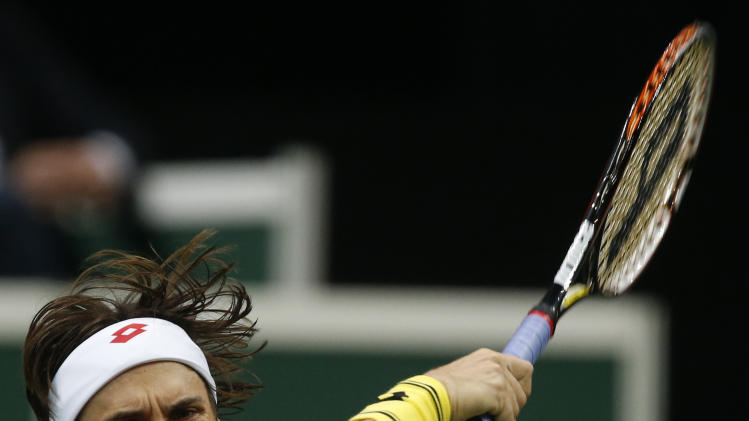 Spain's David Ferrer returns a ball to Czech Republic's Radek Stepanek during their Davis Cup finals tennis singles match in Prague, Czech Republic, Friday, Nov. 16, 2012. (AP Photo/Petr David Josek)
