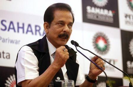 Sahara Group Chairman Subrata Roy gestures as he speaks during a news conference in Kolkata