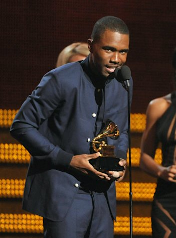 Frank Ocean accepts the award for best urban contemporary album at the 55th annual Grammy Awards on Sunday, Feb. 10, 2013, in Los Angeles. (Photo by John Shearer/Invision/AP)