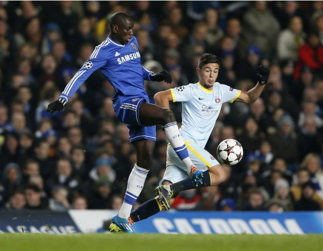 Chelsea's Ba challenges Steaua Bucharest's Pirvulescu during their Champions League soccer match at Stamford Bridge in London