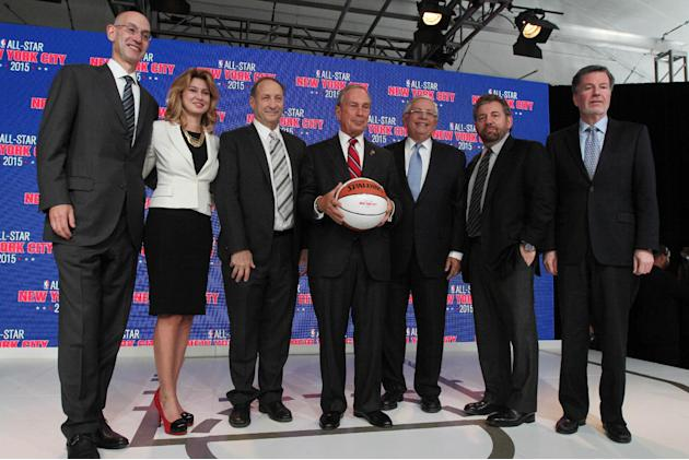 From left, NBA Deputy Commissioner Adam Silver; Irina Pavlova, president, ONEXIM Sports and Entertainment Holding USA Inc.; Bruce C. Ratner, majority owner and developer of Barclays Center and executi