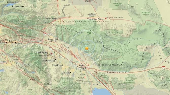Preliminary magnitude 3.8 earthquake strikes near Indio