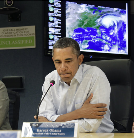 To The Rescue:  Obama Mans Hurricane Response Center