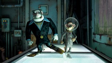 Whitey (voiced by Bill Nighy ) and Spike (voiced by Andy Serkis ) in DreamWorks Animation's Flushed Away