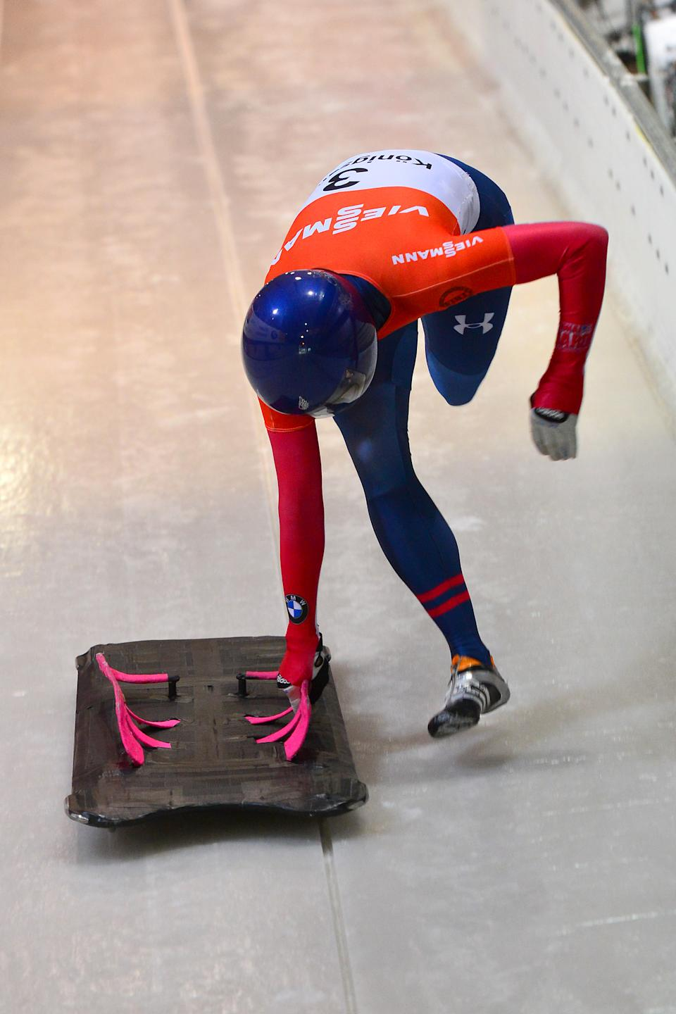 Noelle Pikus-Pace from the United States starts during her first run of the women's Skeleton World Cup race in Koenigssee, Germany, Friday, Jan. 11, 2013. (AP Photo/Kerstin Joensson)