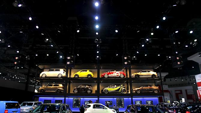 File photo of Scion cars on display at the LA Auto Show in Los Angeles