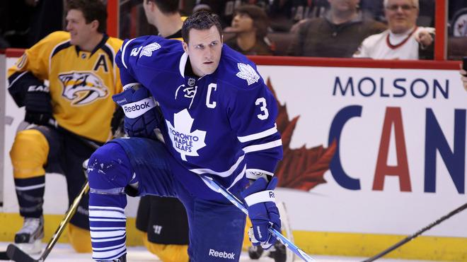 Dion Phaneuf #3 Of The Toronto Maple Leafs And Team Chara Kneels Getty Images