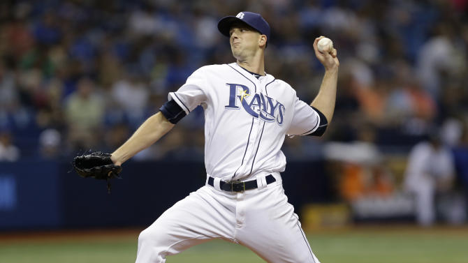 Tampa Bay Rays starting pitcher Drew Smyly delivers to the Toronto Blue Jays during the fifth inning of a baseball game Friday, April 29, 2016, in St. Petersburg, Fla.  (AP Photo/Chris O'Meara)