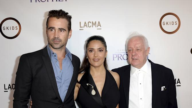 "Producer and cast member Hayek-Pinault poses with actor Farrell and director Sheridan during the Los Angeles screening of Khalil Gibran's ""The Prophet"" at Los Angeles County Museum of Art's Bing Theater in Los Angeles"