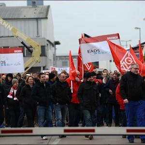 Thousands Of EADS Workers In Germany Protest Against Restructuring