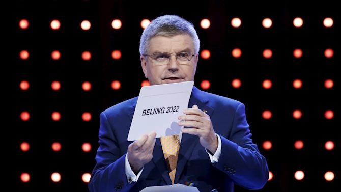 Thomas Bach President of the IOC announces Beijing as the city to host the the 2022 Winter Olympics during the 128th International Olympic Committee Session, in Kuala Lumpur
