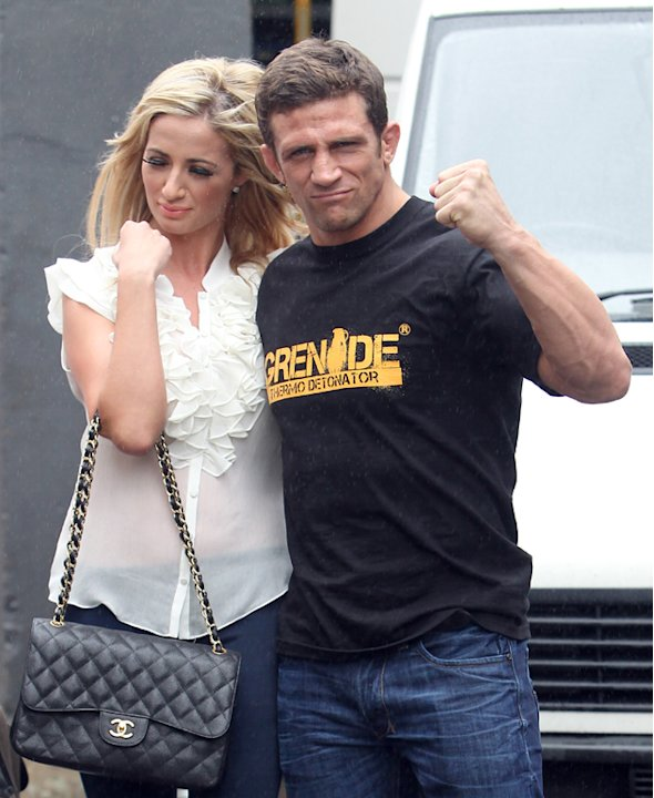 Chantelle and Alex outside ITV Studios after promoting their romance on This Morning in August 2011