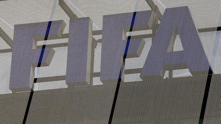 The logo of soccer's international governing body FIFA is seen on its headquarters in Zurich