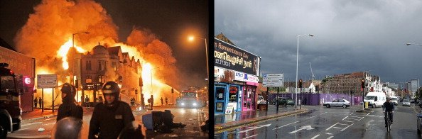 In this composite image (Left Photo) Firefighters battle a large fire that broke out in shops and residential properties in Croydon on August 9, 2011 in London, England. (Right Photo) The scene in Cro