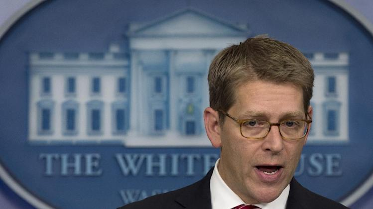 White House press secretary Jay Carney gesture as he speaks during his daily news briefing at the White House in Washington, Wednesday, Jan. 23, 2013. (AP Photo/Carolyn Kaster)