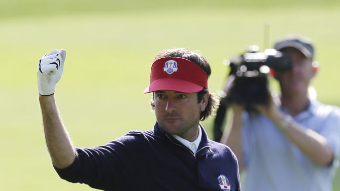 USA's Bubba Watson reacts to a shot on the 12th hole during a four-ball match at the Ryder Cup PGA golf tournament Friday, Sept. 28, 2012, at the Medinah Country Club in Medinah, Ill. (AP Photo/David J. Phillip)