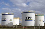 YPF (Yacimientos Petroliferos Fiscales) tanks are seen in Rio Gallegos, Santa Cruz, south west of Buenos Aires. Spain's government has warned Argentina against taking aggressive action in a row over Buenos Aires' reported plans to nationalise YPF, a subsidiary of Spanish oil firm Repsol
