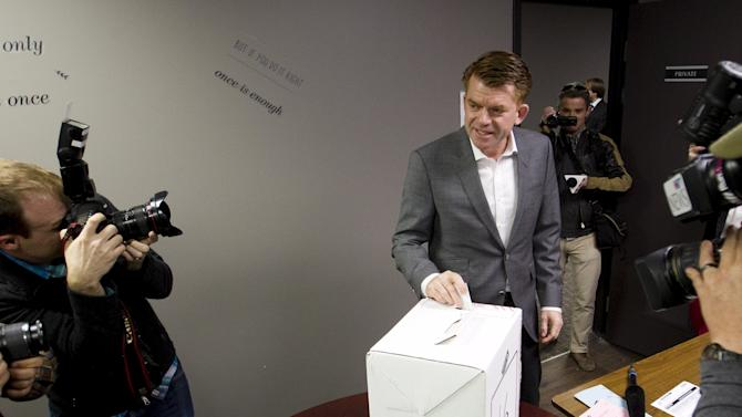 Wildrose party leader Brian Jean casts his ballot on the final day of the Alberta election in Fort McMurray.