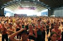People practice Zumba during a meeting in Rimini