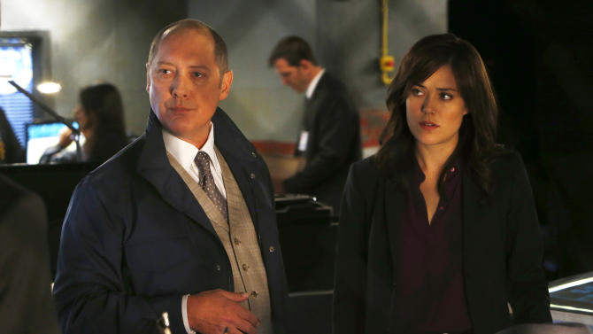 """This photo released by NBC shows James Spader, left, as Raymond """"Red"""" Reddington, and Megan Boone as Elizabeth Keen, in """"Wujing"""" Episode 102, of NBC's """"The Blacklist."""" The series airs Mondays at 10/9 CDT on NBC. (AP Photo/NBC, Will Hart)"""