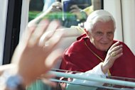 MADRID, SPAIN - AUGUST 20:  Pope Benedict XVI arrives at the Almudena Cathedral to celebrate a mass for seminarians on August 20, 2011 in Madrid, Spain. Initiated by Pope John Paul II in 1985, World Youth Day youth-oriented events for the celebration of the Catholic faith are held every three years in a different country; this time in Madrid from August 16th to 21st, with Pope Benedict XVI in attendance.  (Photo by Carlos Alvarez/Getty Images)