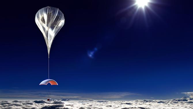 This artist's rendering provided by World View Enterprises on Tuesday, Oct. 22, 2013 shows their design for a capsule lifted by a high-altitude balloon up 19 miles into the air for tourists. Company CEO Jane Poynter said people would pay $75,000 to spend a couple hours looking down at the curve of the Earth. (AP Photo/World View Enterprises)