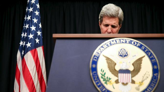 US Secretary of State John Kerry speaks at a news conference at the Nairobi Sankara Hotel, Monday