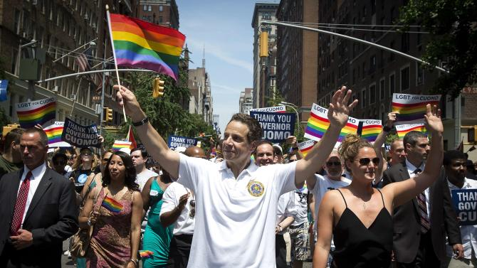 New York Governor Andrew Cuomo takes part in the annual Pride March on Christopher Street in the Manhattan borough of New York