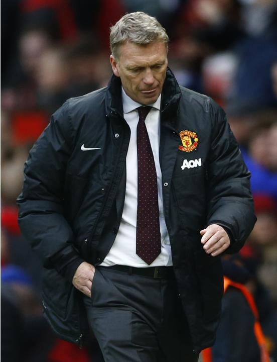 Manchester United's manager Moyes reacts after losing to Newcastle United in their English Premier League soccer match in Manchester