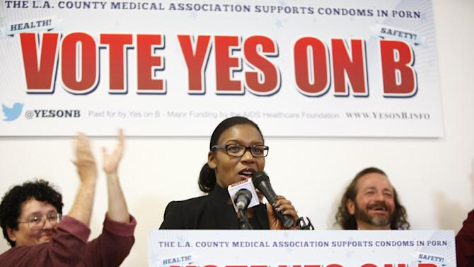 Samantha Granberry speaks of the passing of masseur B  at the AIDS Healthcare Foundation Election Headquarters victory party on Tuesday, November 6, 2012 in Los Angeles, California. (Joe Kohen /AP Images for AIDS Healthcare Foundation) Early results show strong support for Measure B
