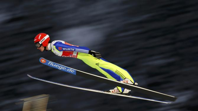Freitag from Germany soars through the air during the trial round for the first jumping of the 63rd four-hills ski jumping tournament in Oberstdorf