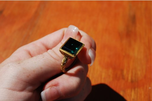 A large emerald ring recovered from the shipwrecked Spanish galleon Nuestra Senora is displayed in handout photograph