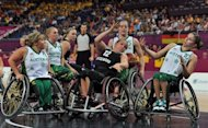 Germany&#39;s Annabel Breuer (C) and Australian players during their women&#39;s wheelchair basketball final at the London Paralympics on September 7. Germany beat Australia 58-44 to condemn the Gliders to a third Paralympics final defeat