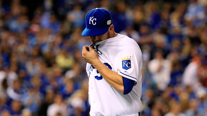 James Shields of the Kansas City Royals walks off the field after getting pulled in the fourth inning against the San Francisco Giants during Game One of the 2014 World Series at Kauffman Stadium on October 21, 2014 in Kansas City, Missouri